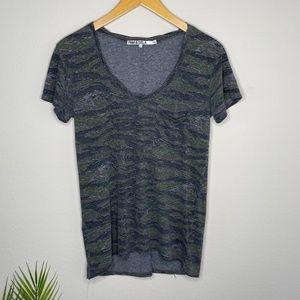 Pam & Gela Camo Scoop Neck Raw Hem T-shirt Size XS